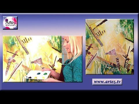 Composicion abstracta collage y acrilicos (II) - YouTube