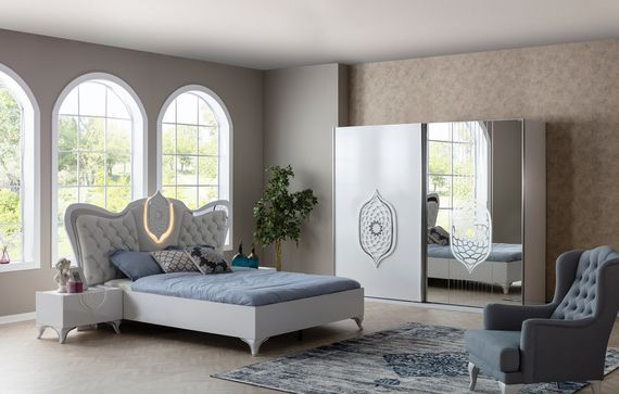 Tugra Bedroom White Silver Modern Furniture Living Room Furniture Beige Living Rooms