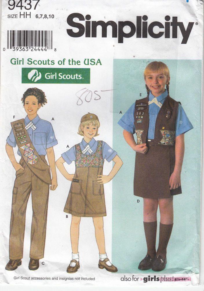 Girl Scouts Shirt Jumper Pants Shorts Sash Simplicity Sew Pattern 9437 Sz 6-10 #Simplicity9437