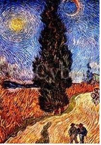 <싸이프러스 나무가 있는 길>, 빈센트 반 고흐  그는 이 작품을 그리는 와중에도 그가 평생 관심을 가진 색채에 대한 관심을 놓지 않았다. 오베르쉬르우아즈에서 반 고흐는 분홍색과 초록색에 관심을 가졌고 이 두 색의 보색대비를 작품에 담고 싶어했다. 이 작품에서 반 고흐는 노란색과 분홍색 그리고 초록색의 보색대비를 통해 강렬하면서도 생기 넘치는 작품을 그려냈다. 특히 이 작품은 반 고흐가 말년에 보여준 독특한 색선들에 주목할만하다. 소용돌이와 파도와 같은 모양의 색선들은 그의 복잡했던 심리상태를 대변하고 있다.
