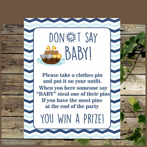 Don't Say Baby Sign, Baby Shower Game, Printable Noah's Ark Clothes Pin Game, Baby Shower Decoration, Party…