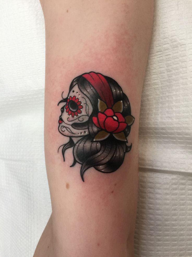 Profile sugar skull woman girl day of the dead Spanish culture tattoo tatuaje el día de los muertos