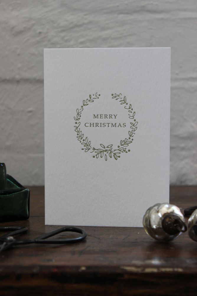 Image of Christmas greeting cards green detail