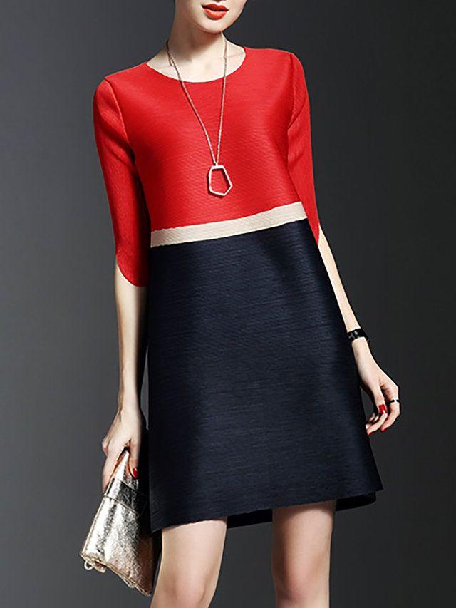 Red Ribbed Half Sleeve A-line Mini Dress