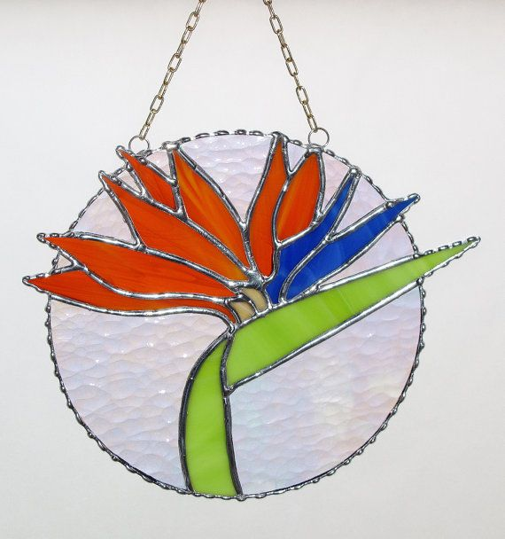 Stained Glass Panel  Tropical Bird of Paradise Flower by GLASSbits, $65.00