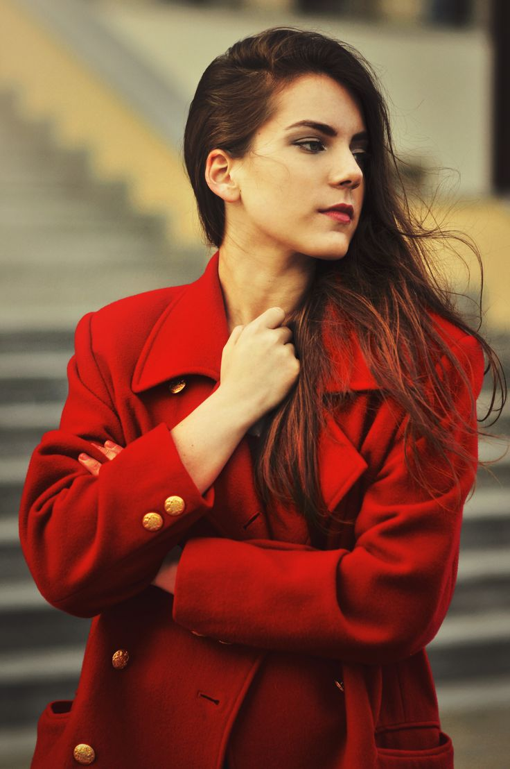 Red coat with gold buttons