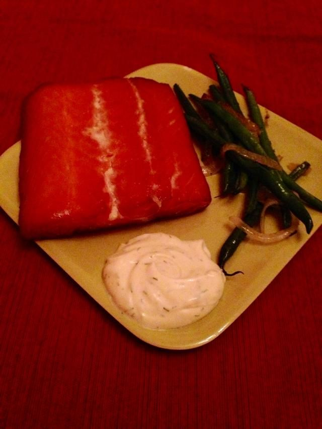 Served with roasted green beans and onion, and a mix of olive oil mayonnaise, Dijon mustard and fresh dill. Very tasty! Bag up the small pieces and refrigerate to snack on later.
