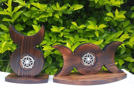 Triple Moon and Horned God Altar Pieces made from Burnt Cedar