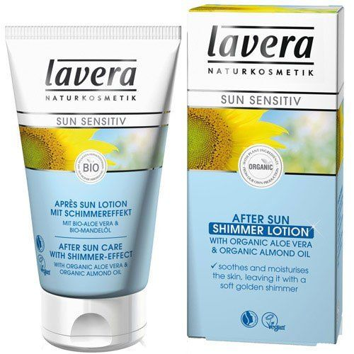 Lavera After Sun Care with Shimmer Effect -- 5 fl oz by Lavera. $21.00. After Sun Shimmer LotionShimmer particles from 100% natural minerals leave the skin with a soft golden shimmer, while organic aloe vera and organic almond oil soothe and moisturize the skin. Lavera. After Sun Shimmer LotionShimmer particles from 100% natural minerals leave the skin with a soft golden shimmer, while organic aloe vera and organic almond oil soothe and moisturize the skin.