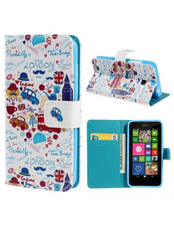Δερμάτινη Θήκη Πορτοφόλι με Βάση Στήριξης για Nokia Lumia 630 / 630 Dual SIM RM-978 - Πολύχρωμα σχέδια με θέμα το Λονδίνο