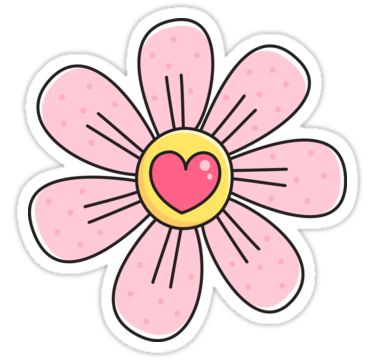 Pink flower with heart - cute floral illustration sticker ...