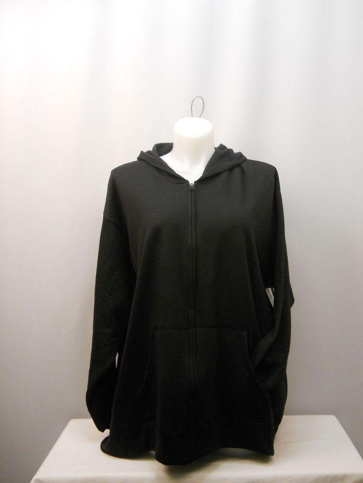 Womens Fleece Hoodie Jacket PLUS SIZE 5X Solid Black Long Sleeves Full Zip #JustMySize #Hoodie