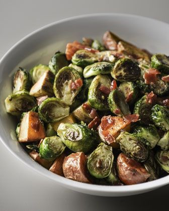 Roasted Brussels Sprouts with Red Potatoes & Bacon at Neiman Marcus.