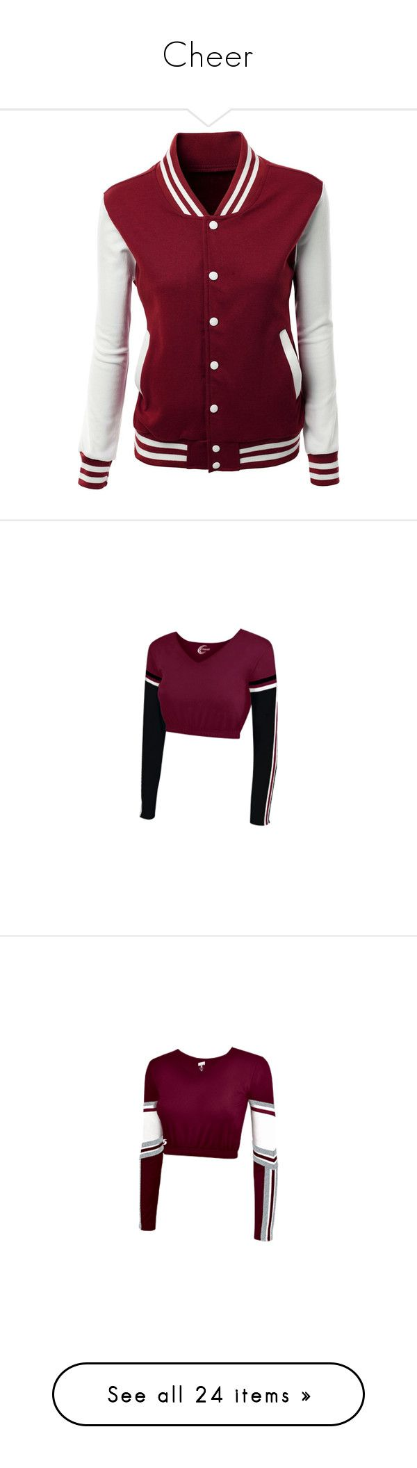 """""""Cheer"""" by alexisnagrampa ❤ liked on Polyvore featuring outerwear, jackets, tops, san, cheer, varsity style jacket, letterman jacket, purple letterman jacket, college jacket and purple jacket"""