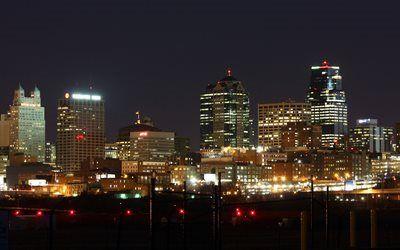 壁紙をダウンロードする ミズーリ, カンザスシティ, 灯り, 夜, 都市, 米国