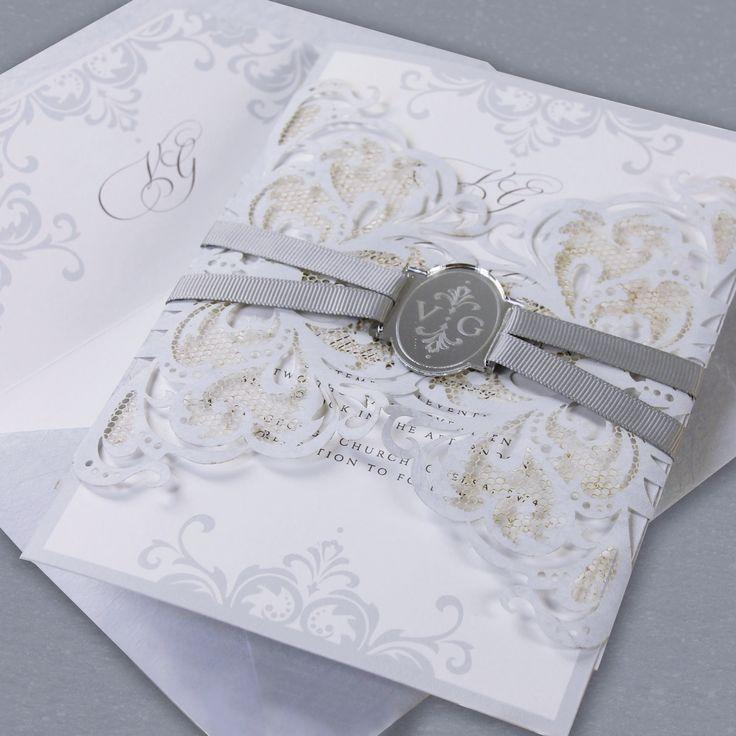 paper cut wedding invitations uk%0A Dusty Blue Luxury Gatefold Lasercut Wedding Day Invitation