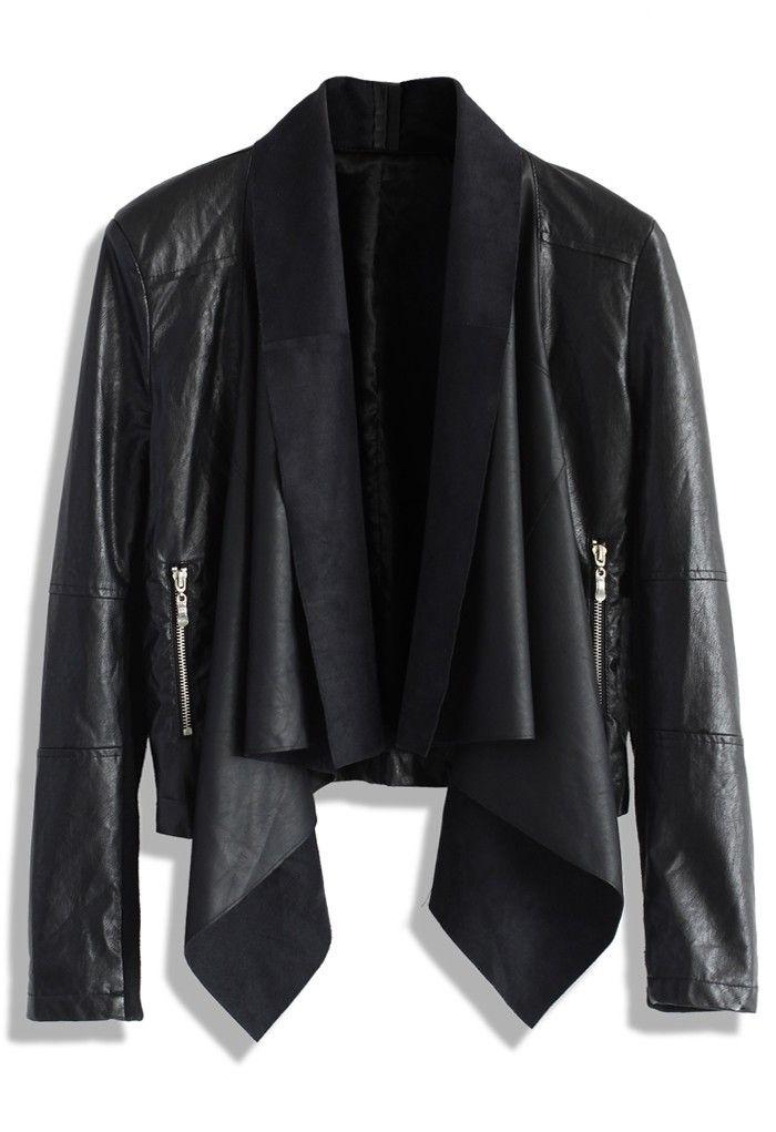 Black Faux Leather Jacket with Waterfall Drape | #USTrendy  www.ustrendy.com