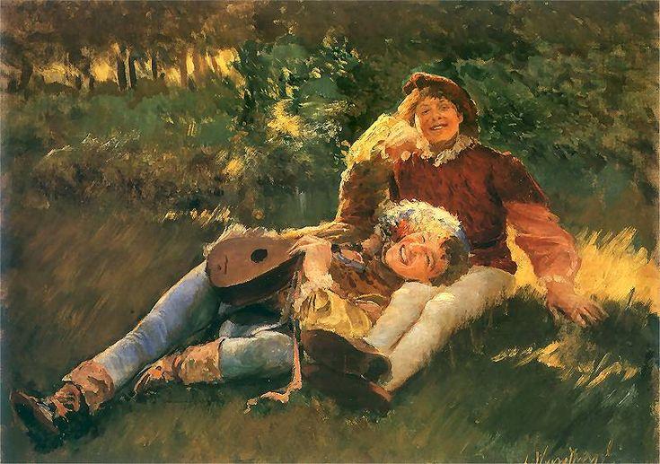 Leon Wyczółkowski (Polish 1852–1936, Warsaw) [Polish Realism, Młoda Polska] Wesołe pacholęta. 1891. Olej na płótnie. 68 x 50 cm. Muzeum Narodowe, Warszawa.