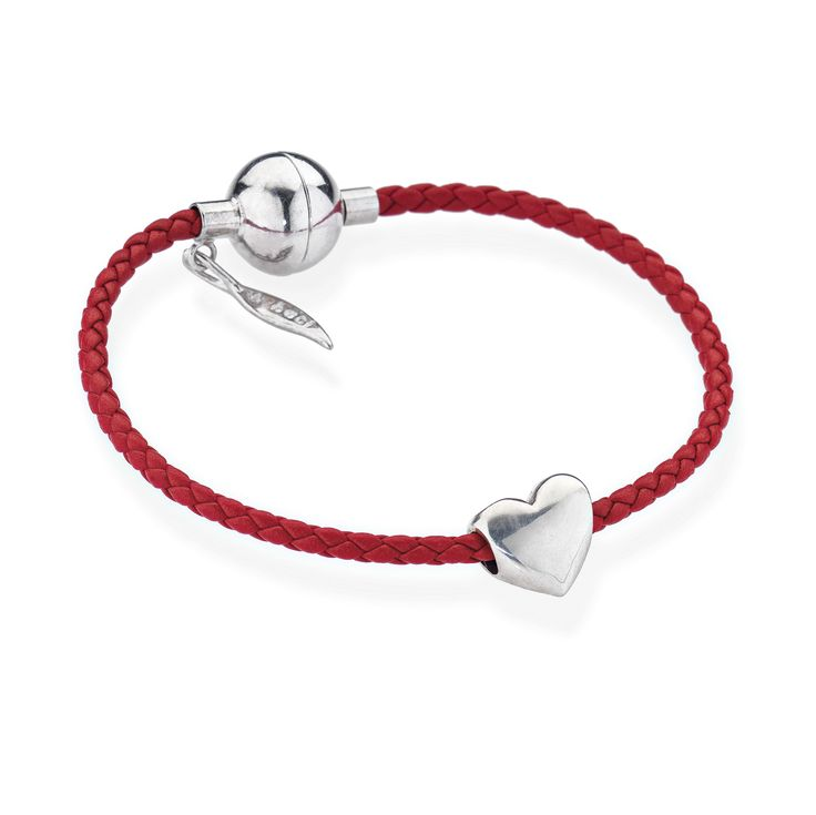 Amore & Baci leather and silver heart bracelet