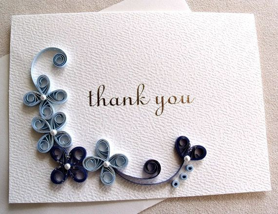 Handmade paper quilled thank you card                                                                                                                                                                                 More