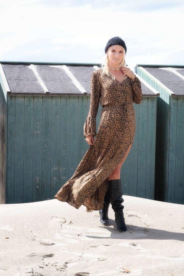 Animalisches Kurzes Midi Kleid Mit Zier Ketten