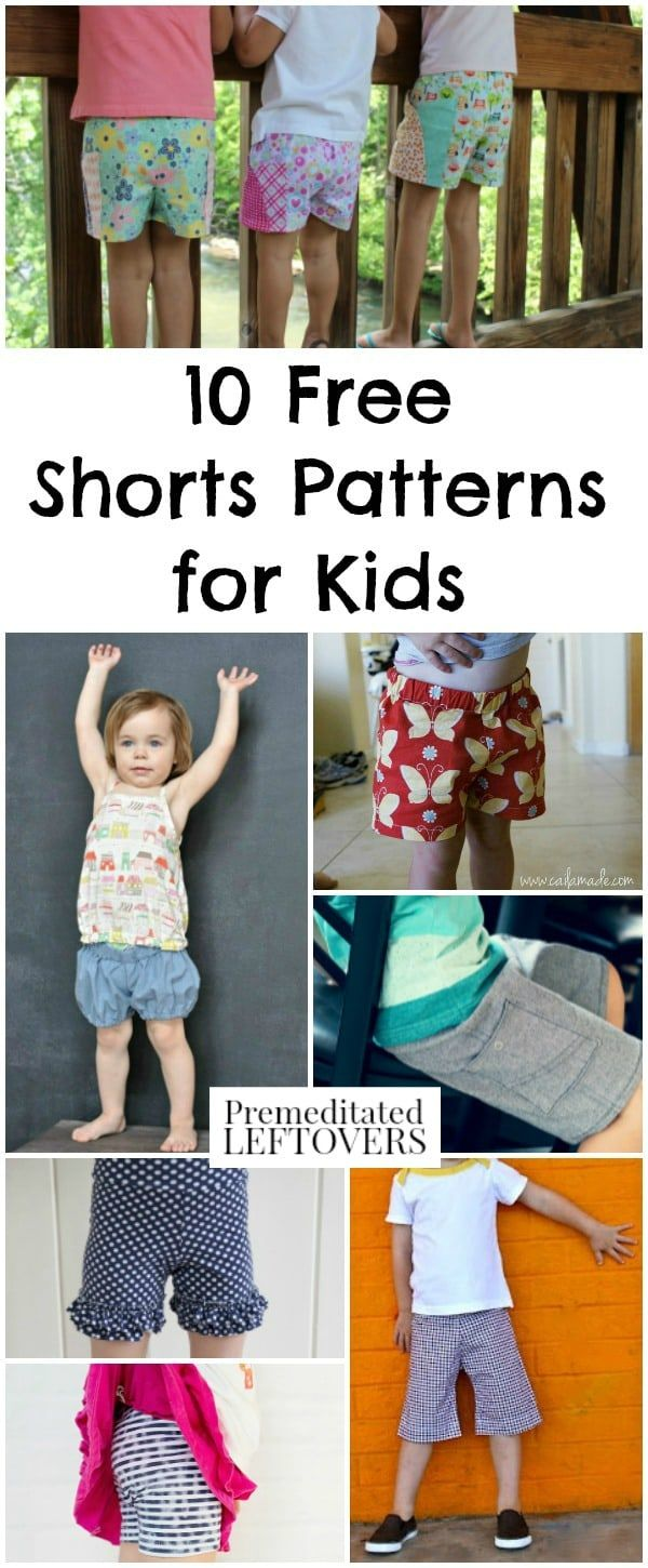 10 Free Shorts Patterns for Kids - Frugal summer clothing idea for kids. Sewing patterns for kids shorts including tutorial for how to turn pants into shorts. Frugal ways to dress kids in cute summer clothing on a budget.