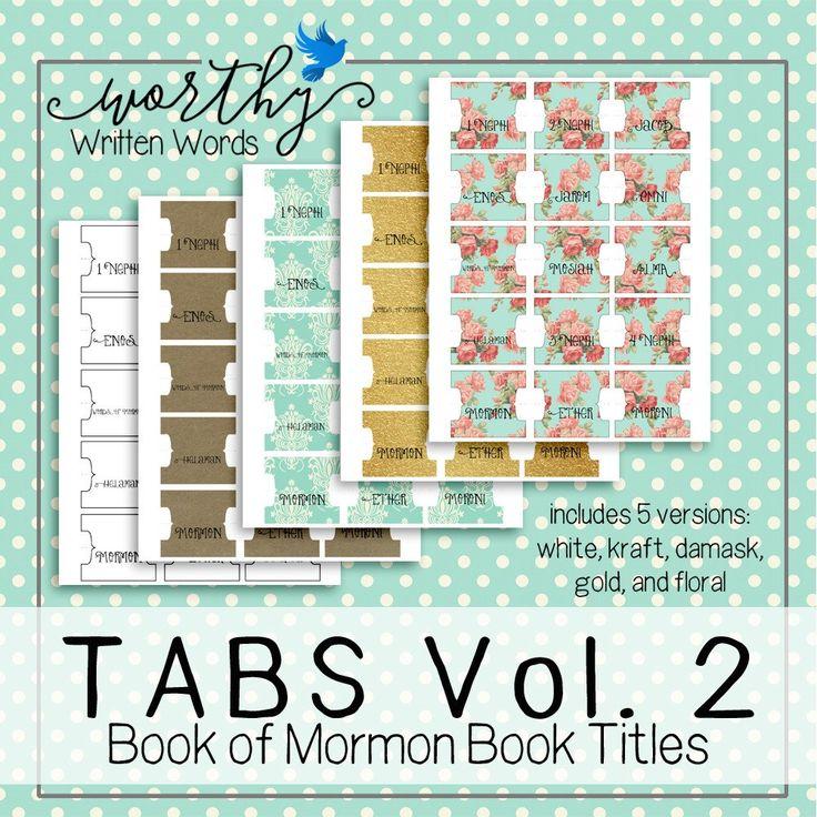 Tabs Volume 2- Book of Mormon Book Titles – Worthy Written Words