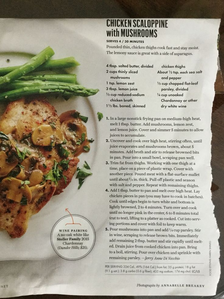 Chicken Scaloppine with Mushrooms from Sunset Magazine
