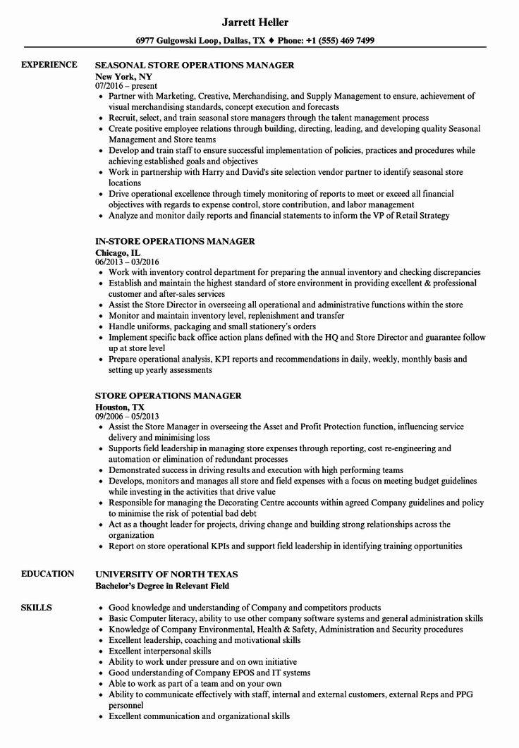 Store Manager Job Description Resume Fresh Sephora