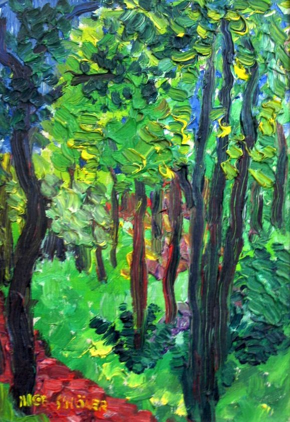 Forest. Swedish Inge Schiöler (1908-1971)is known as a very colorful painter . His main techniques were oil and pastel, and he was one of Gothenburg Colourists .