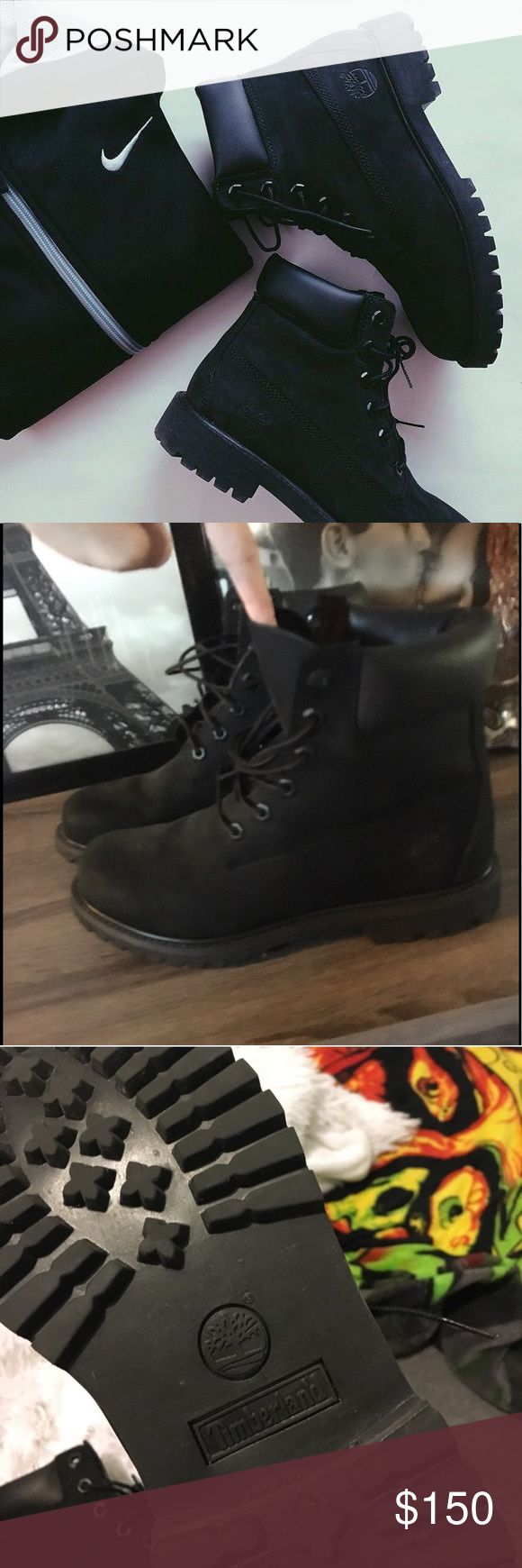 ❗️Black Timberland Make Offer All black Timberland boots. I wore these one time! They are in great condition. Not broken in at all. Still stiff and new. Timberland Shoes Combat & Moto Boots