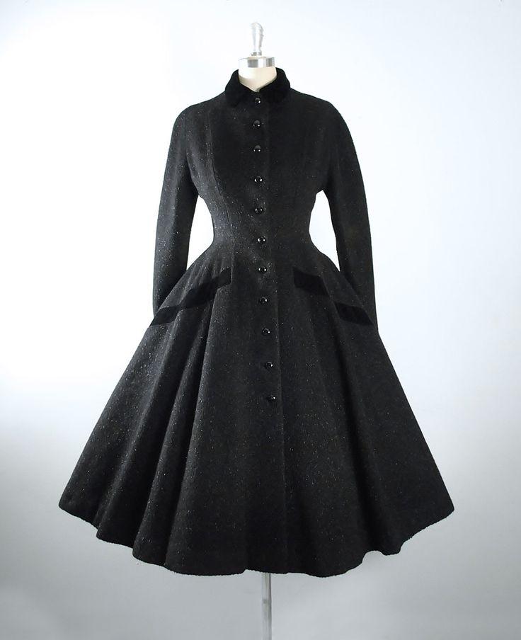 Perfect Vintage s LILLI ANN Princess Coat s Black Paris France Mohair Wool VELVET Dress Coat Wasp Waist Full Circle Skirt S Small M Medium