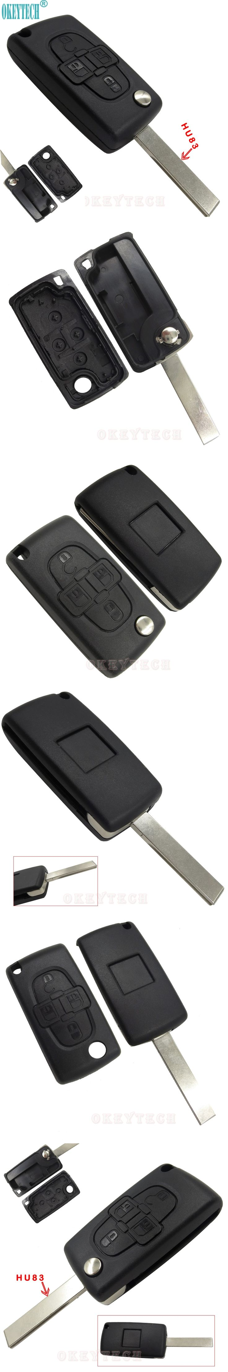 OkeyTech New Auto Folding Remote FOB Key Case For PEUGEOT 1007 For Citroen C8 4 Buttons Remote Key Cover Housing Flip Key Shell