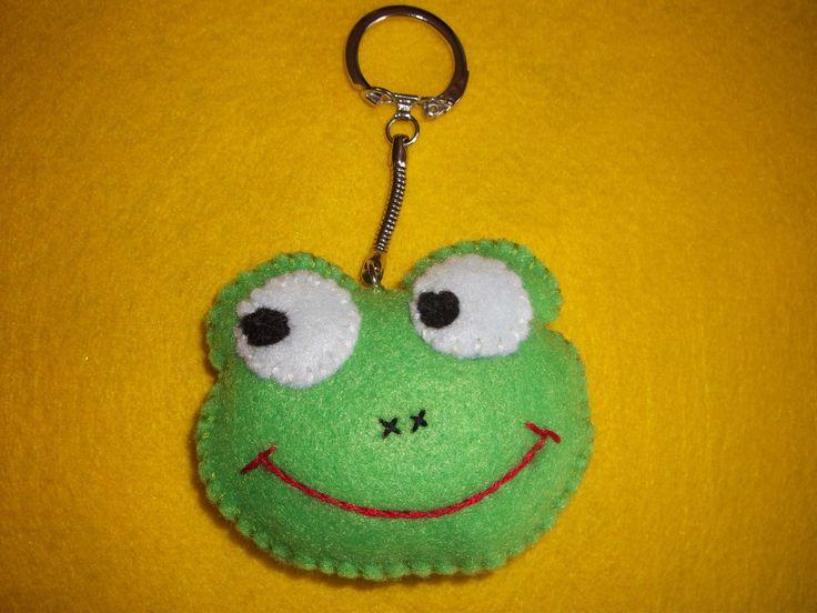 porte clés grenouille en feutrine
