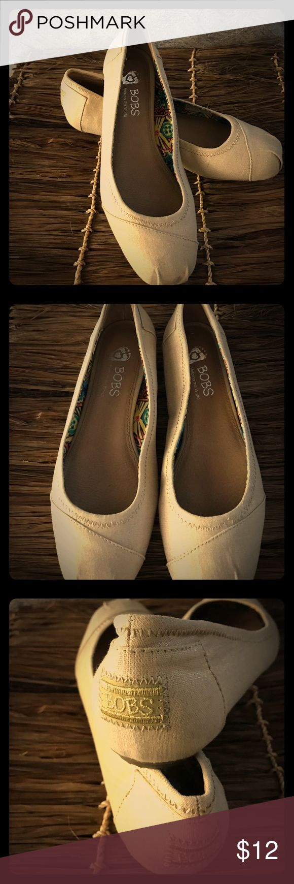 Gold and cream Sketcher Bob's shoes size 8.5 Very cute Bobs shoes cream and gold. Has a bit of gold shine to them. Ready for the summer. Skechers Shoes Flats & Loafers