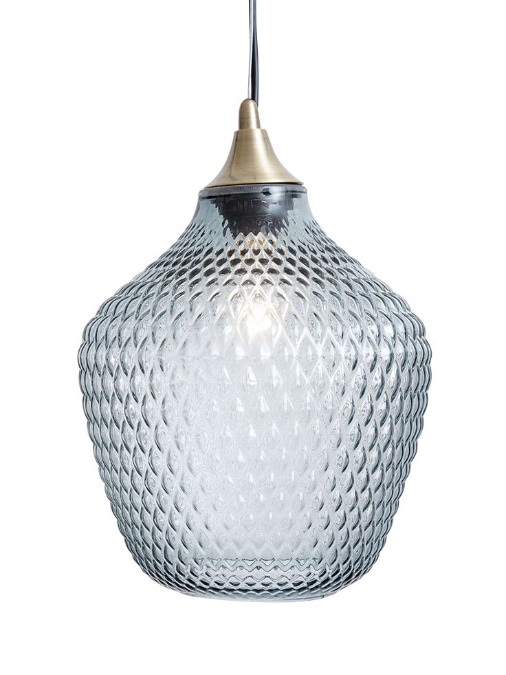 Carefully blown from high quality glass with a beautiful embossed textured finish, our large glass pendant lets light ripple around your room. With a smoky grey finish, brass top and matching ceiling rose, this stylish pendant creates a soft light and will stand out in any space. Click here to view our useful lighting buying guide, and take a look at our blog for ideas on how incorporate lighting into your home.