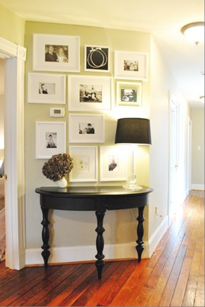 I like the wall collage idea for over our hall table upstairs.