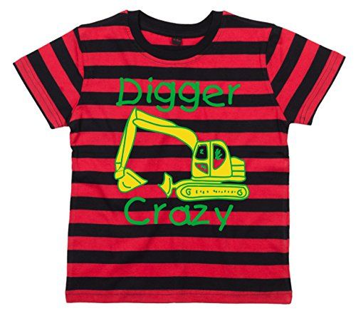 Red and Black Striped Children's T-Shirt 'DIGGER CRAZY' DESIGN 2 Yellow and Green Print Edward Sinclair http://www.amazon.co.uk/dp/B00M48E44Y/ref=cm_sw_r_pi_dp_VBMRvb0C6EX2N