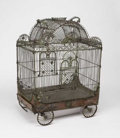 Bird cage in the form of a circus wagon (painted metal wire, sheet metal, 18th century)