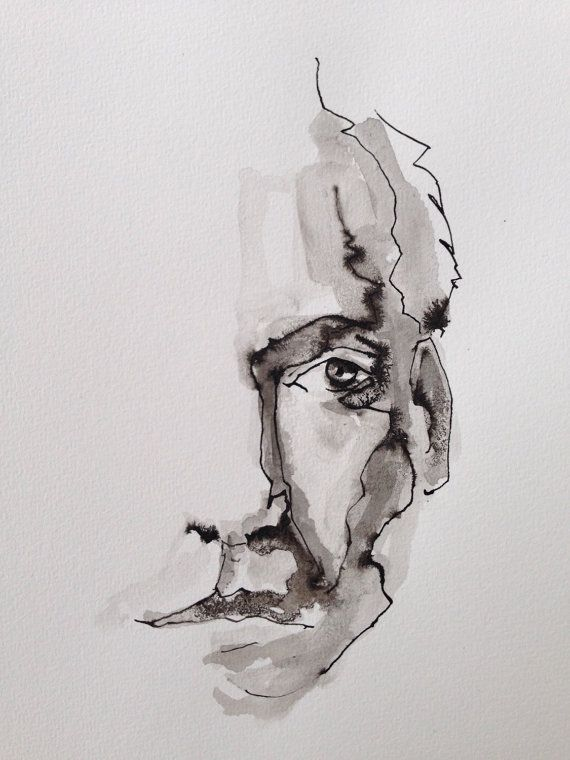 ink drawing, watercolor art,figurative art,male portrait,Original, fine wall art,pen and ink,black and white art,watercolor paintings,dutch