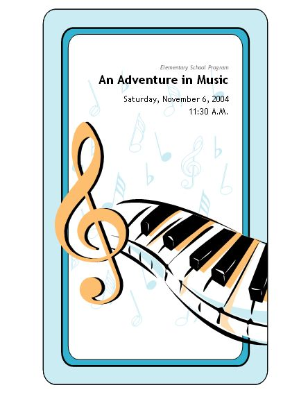 school concert event program templates music education therapy pinterest program. Black Bedroom Furniture Sets. Home Design Ideas