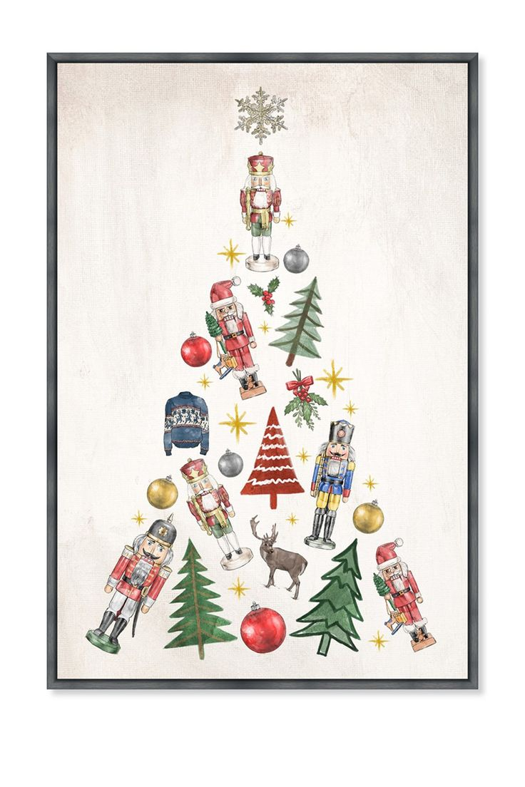 Oliver Gal Gallery Fun Christmas Tree Framed Canvas Art