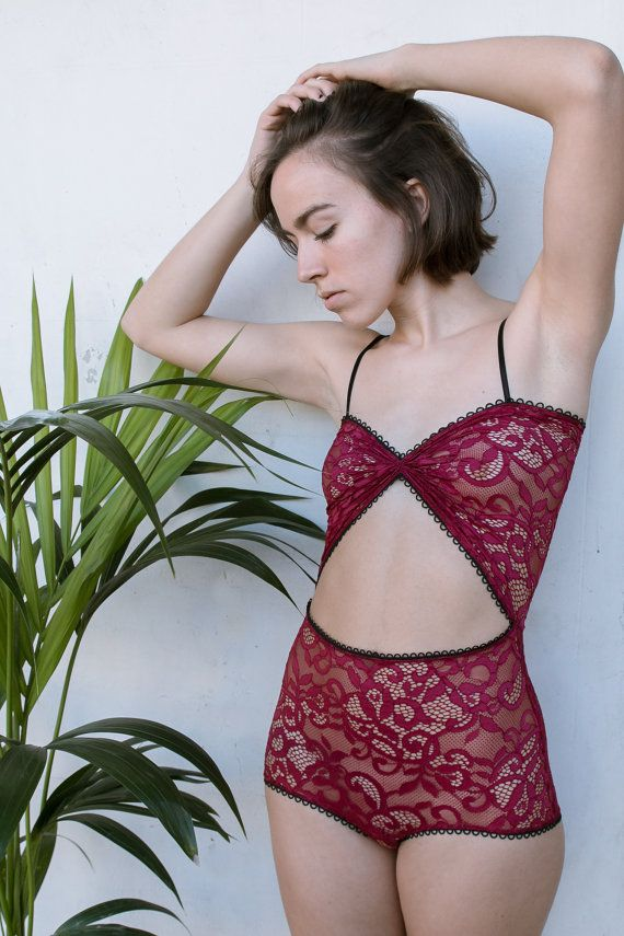 Marina High Waisted Sheer Lace Lingerie Bodysuit // Maroon French Lace…