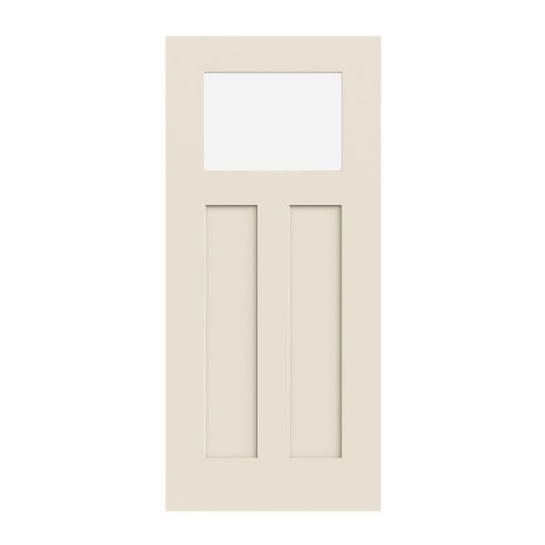 Prehung Exterior Smooth Pro 2 Panel 1 4 Lite Craftsman Door Prehung Doors Craftsman Door Exterior Doors