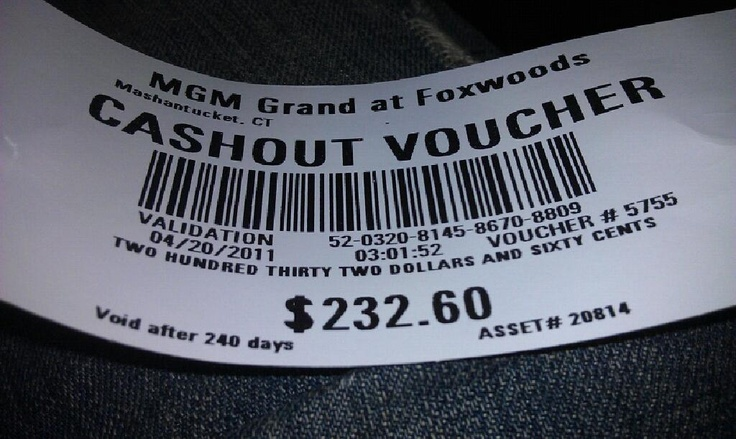 casino cashout voucher