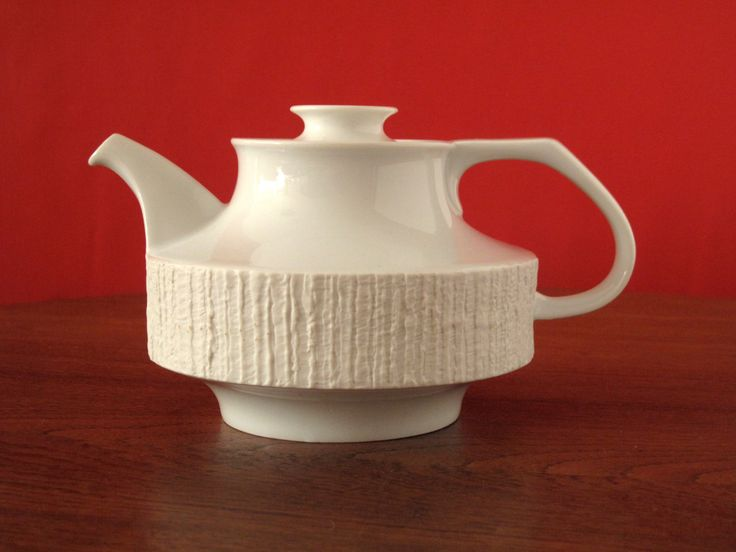 1960s Rosenthal Thomas Germany white tea pot from the Arcta series, designed by Richard Scharrer, bisque matte texture by VintagemitSahne on Etsy