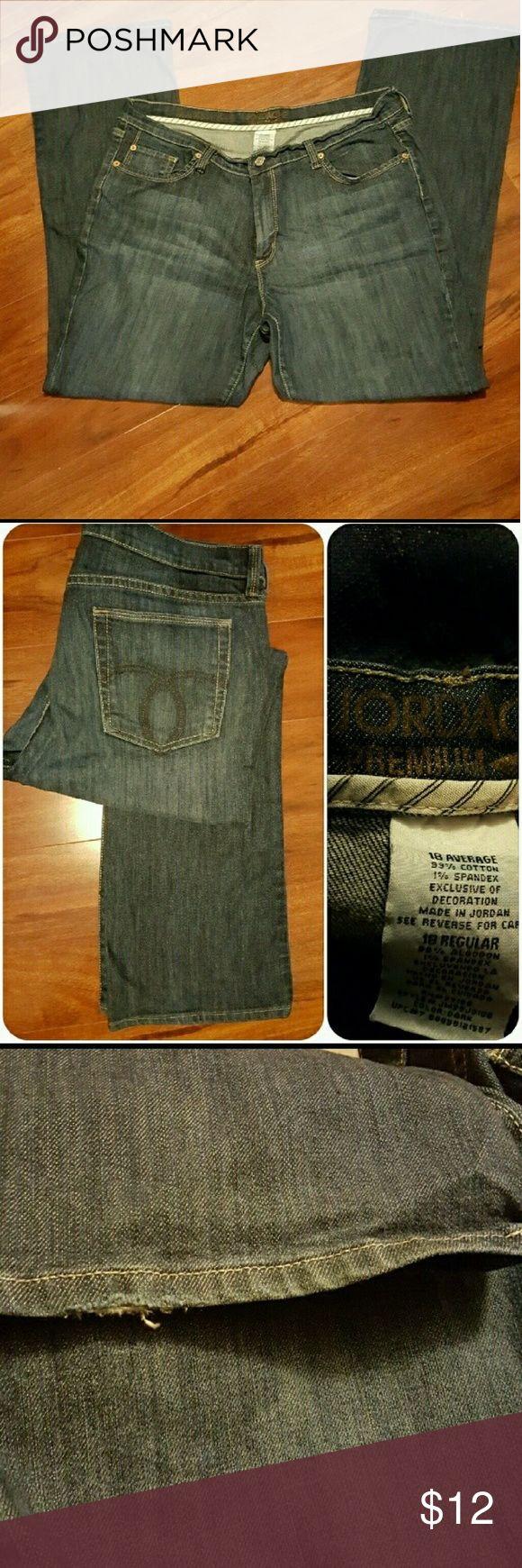 "Jordache Premium Denim Modern Boot Jordache modern boot jeans. Size 18 Average. Small flaw on bottom left pants leg pic 3. 99% cotton, 1% spandex.  Approx flat lay measurements  Waist      18.5 Inseam   31.5 Thigh      13"" Jeans Boot Cut"