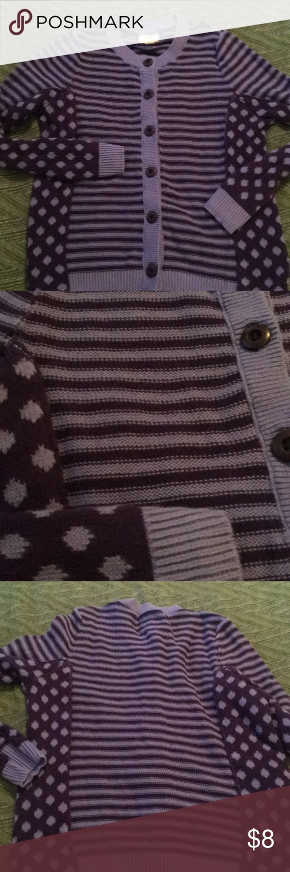 Lands end kids sweater size S 7-8 Girls sweater with two tone purple colors, stripe mixed with polka dots that buttons up front.  EUC Lands' End Shirts & Tops Sweaters