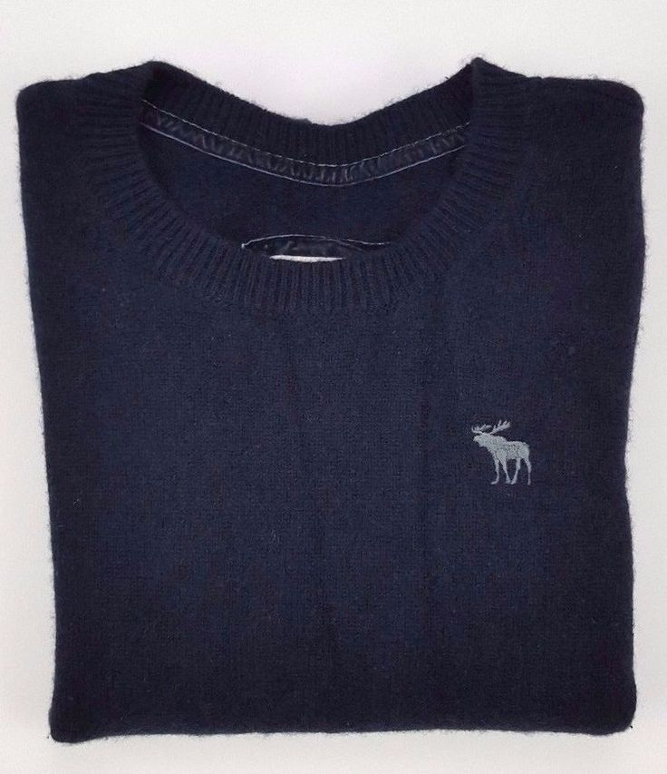 Abercrombie Fitch Womens Cashmere Sweater Small Blue Crewneck Moose Size S Short #AbercrombieFitch #Crewneck #Work
