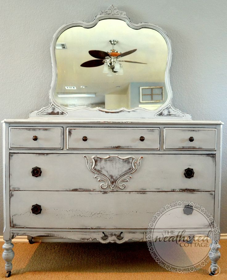 Antique dresser = changing table! Painted in Annie Sloan Chalk Paint(tm) Paris grey, lightly distressed and clear waxed.